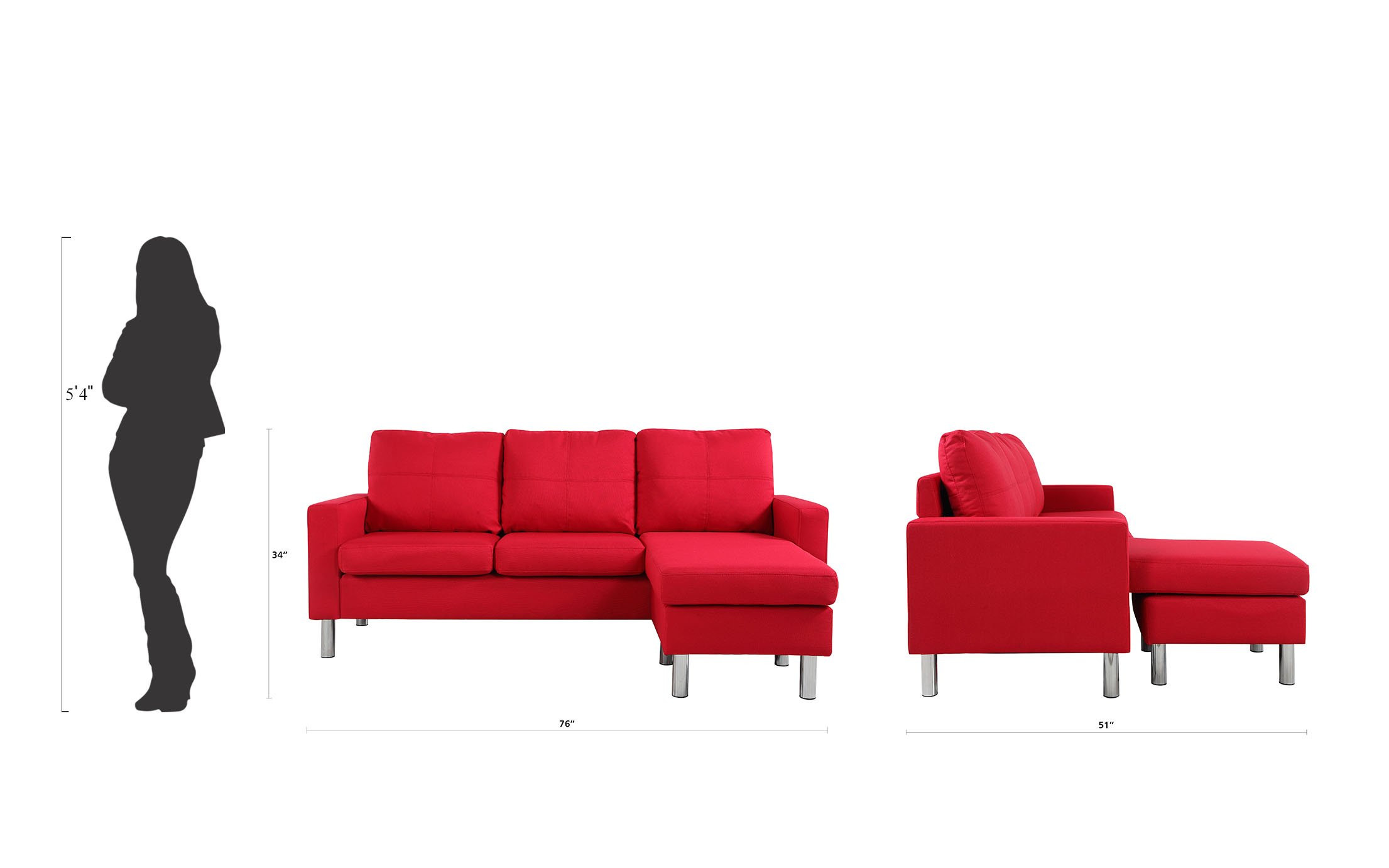 Modern-Living-Reversible-Linen-Fabric-Sectional-Sofa-Small-Space-Red thumbnail 6