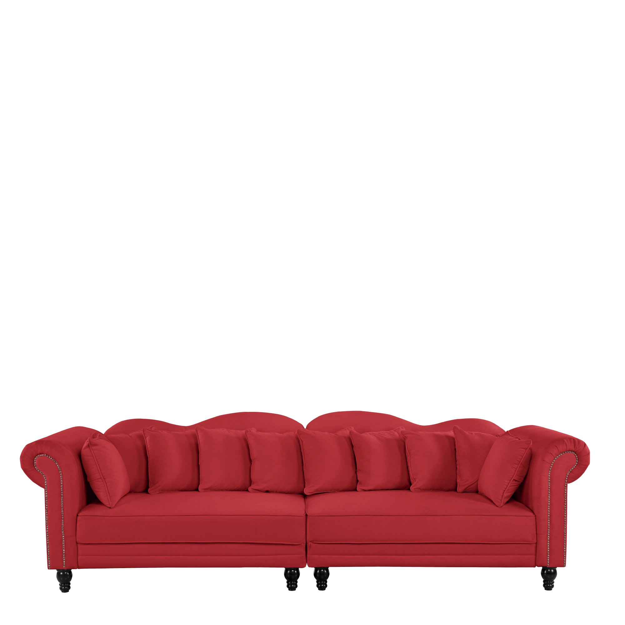 Details about 2 PC Large Chesterfield Sofa, Velvet Couch w/ Scroll Arms,  Nailhead Trim, Red