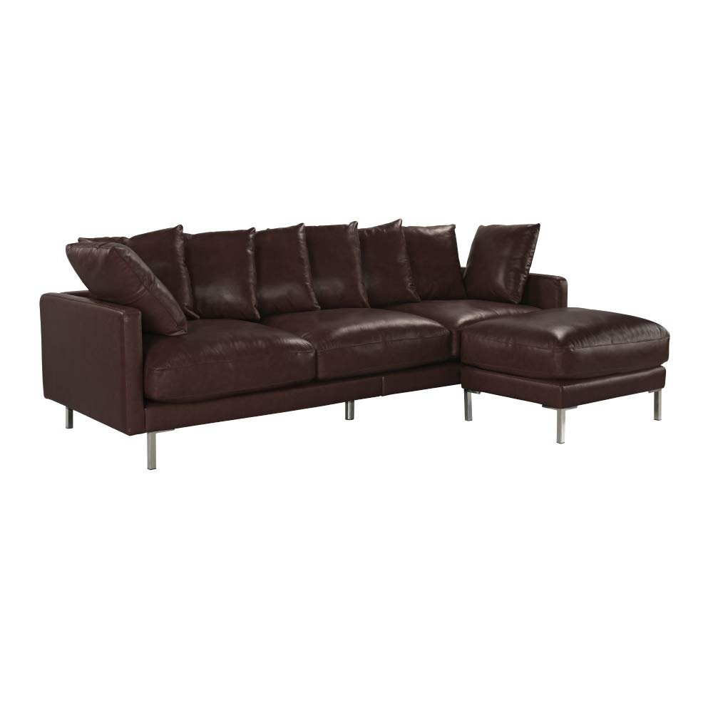 Fabulous Details About Modern Home Leather Match Sectional Sofa Chaise Ottoman Couch Dark Brown Spiritservingveterans Wood Chair Design Ideas Spiritservingveteransorg