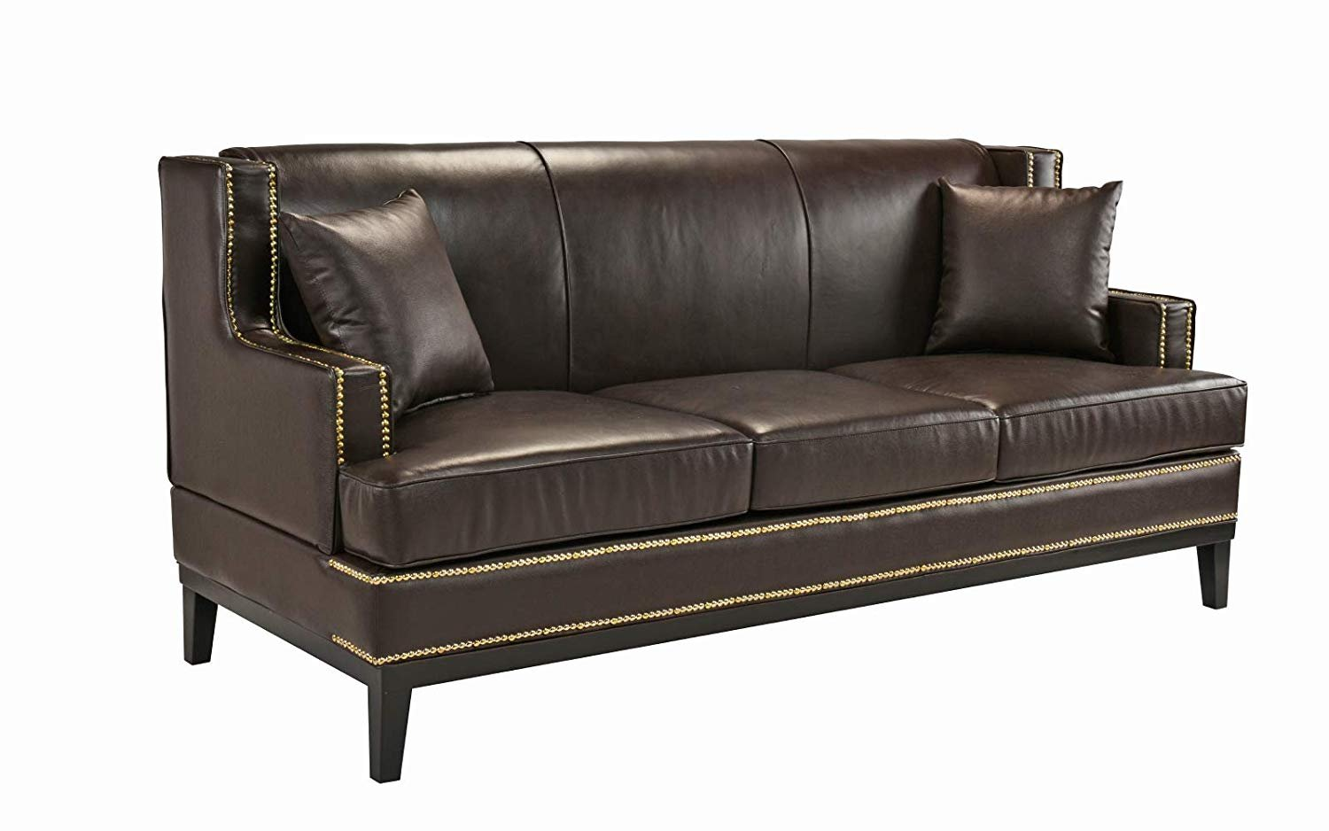 Traditional Leather Sofa Couch w/ Nailhead Trim Detail (Brown ...