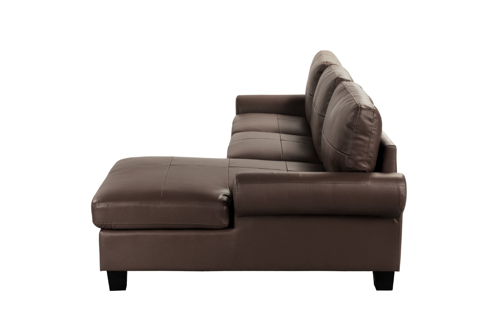 Leather Match Upholstered L-Shape Sectional Sofa Non ...