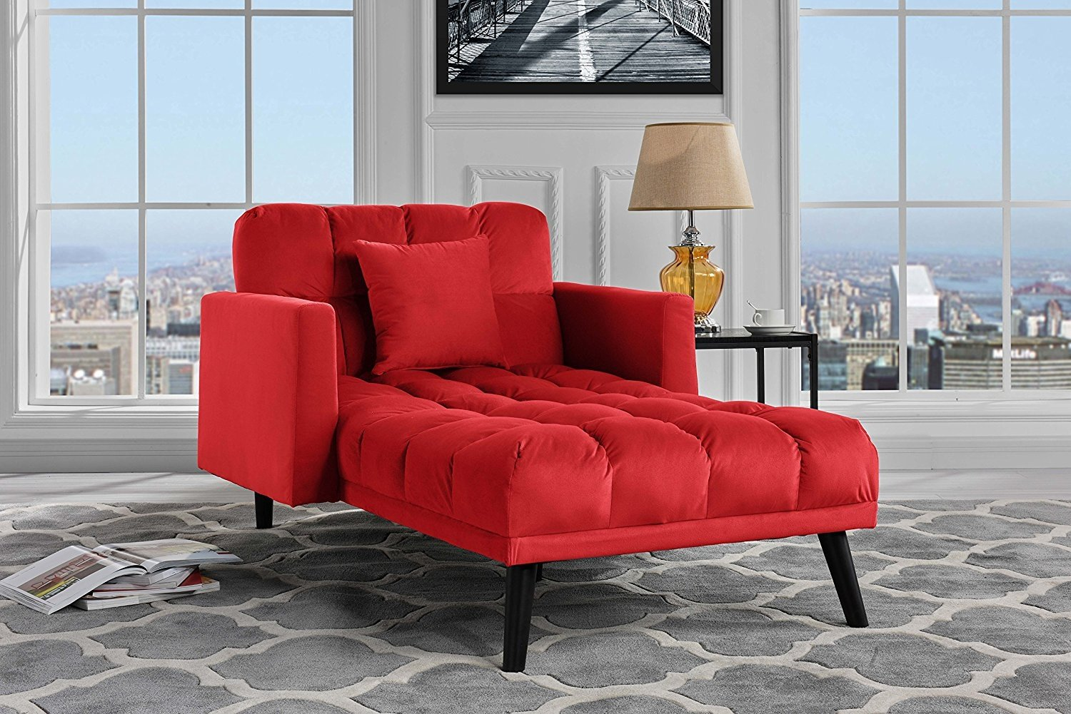 Details About Velvet Fabric Recliner Elegant Sleeper Chaise Lounge Futon Single Seat Red