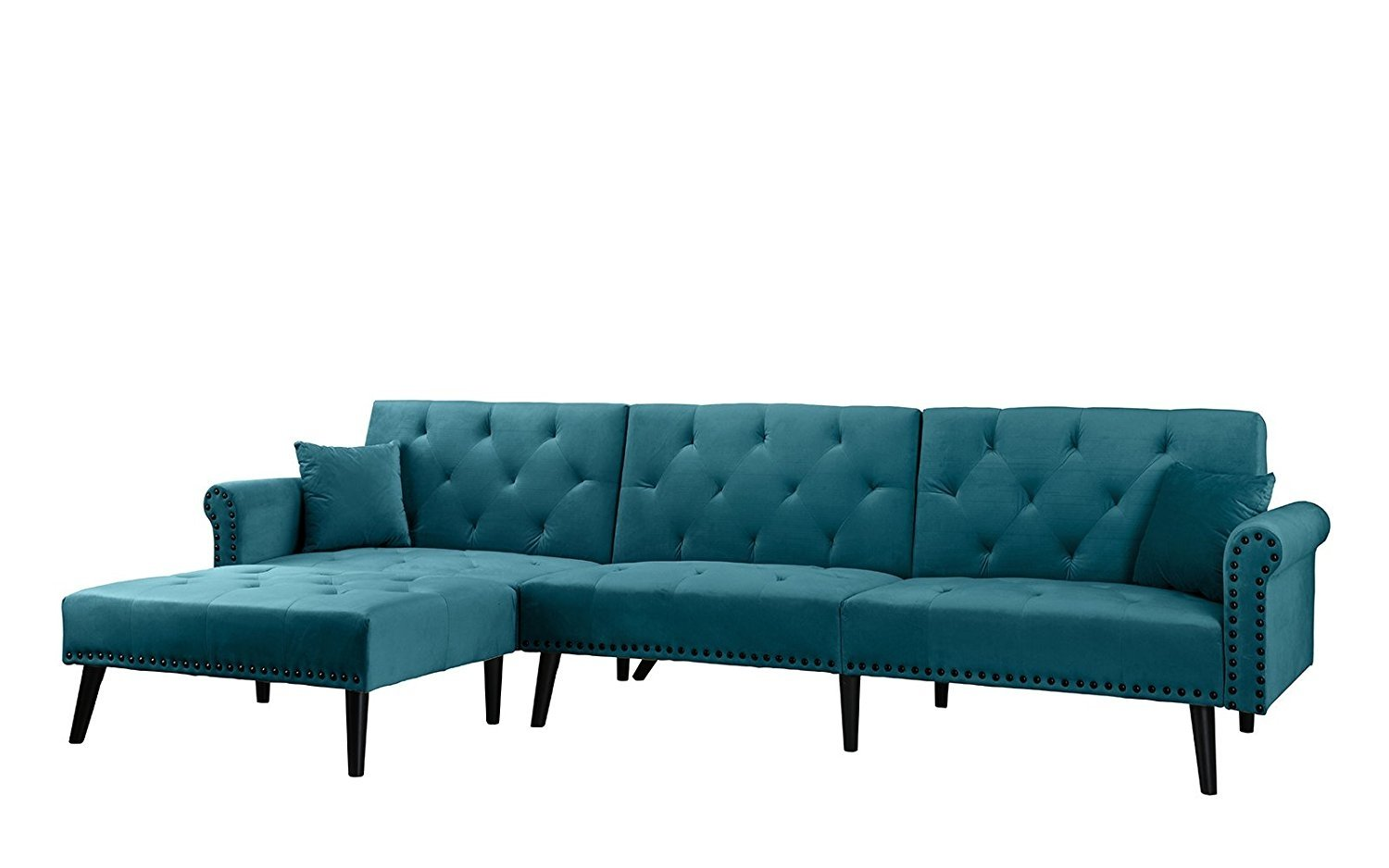 Details about Contemporary Modern Velvet Sleeper Futon Sofa, Mid Century L  Shape Couch, Teal
