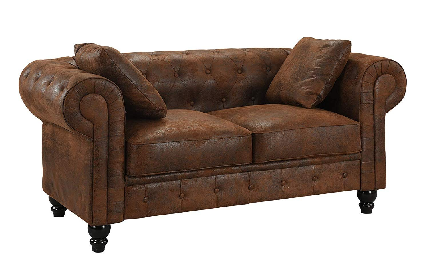 Details About Large Loveseat Chesterfield Sofa In Tufted Faux Suede Love Seat Couch Dark Brown