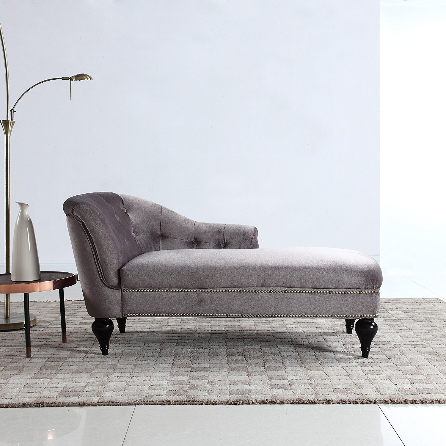 Details about Modern Small Space Velvet Chaise Lounge for Living Room or  Bedroom Light Grey