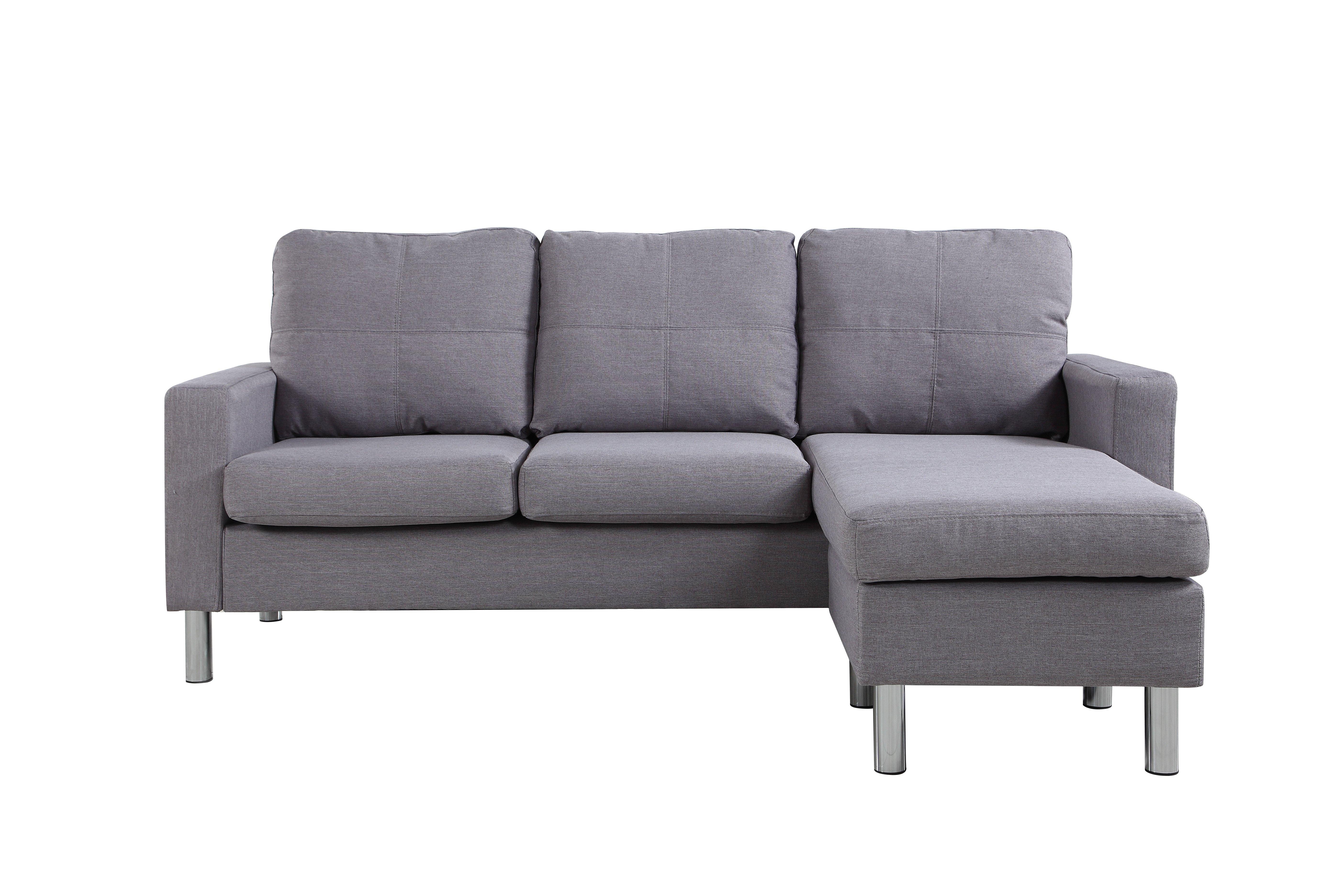 Modern Living Reversible Linen Fabric Sectional Sofa Light Grey Ebay