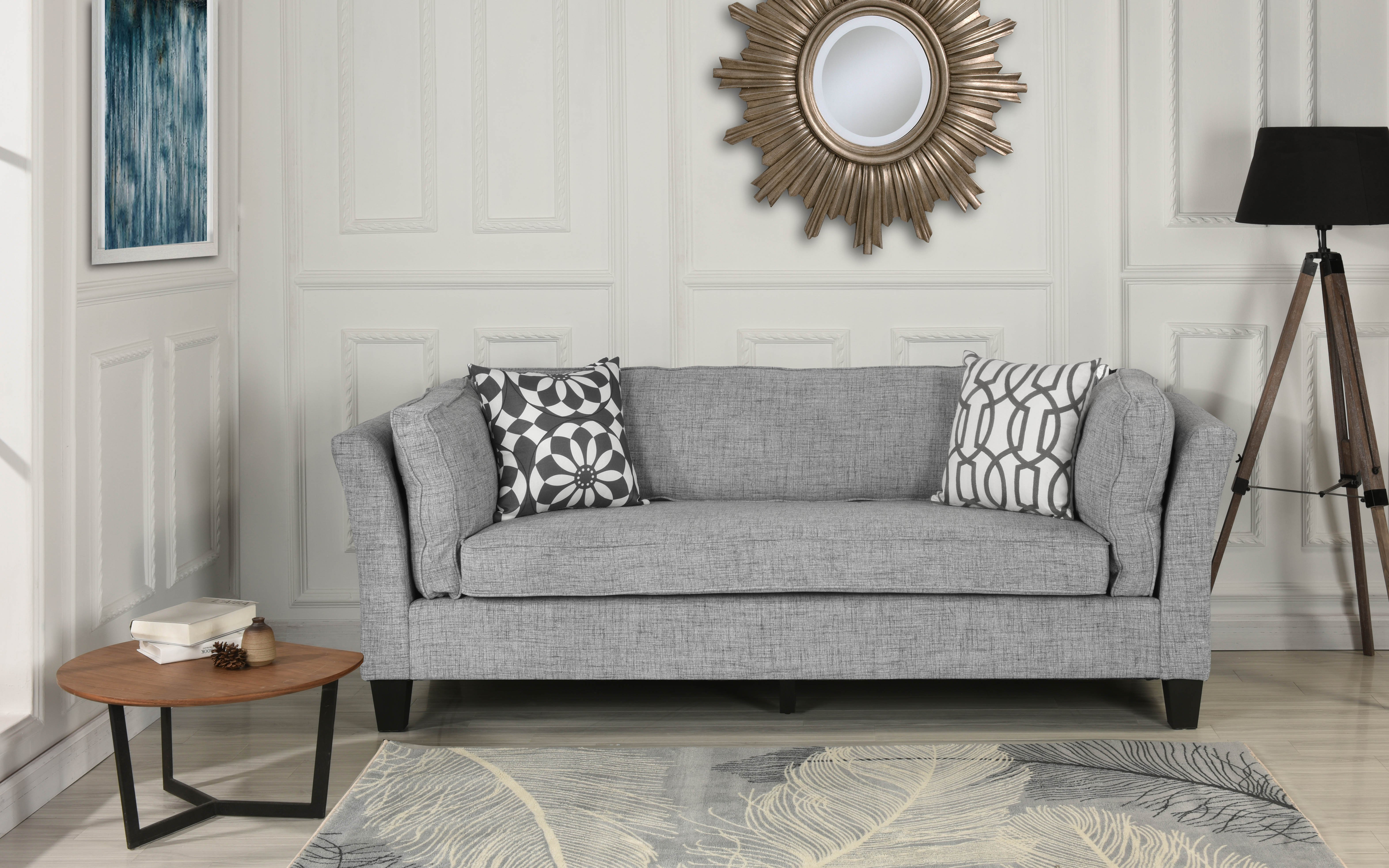 Details About Modern Mid Century Lounge Sofa Linen Fabric Upholstered Couch In Light Grey