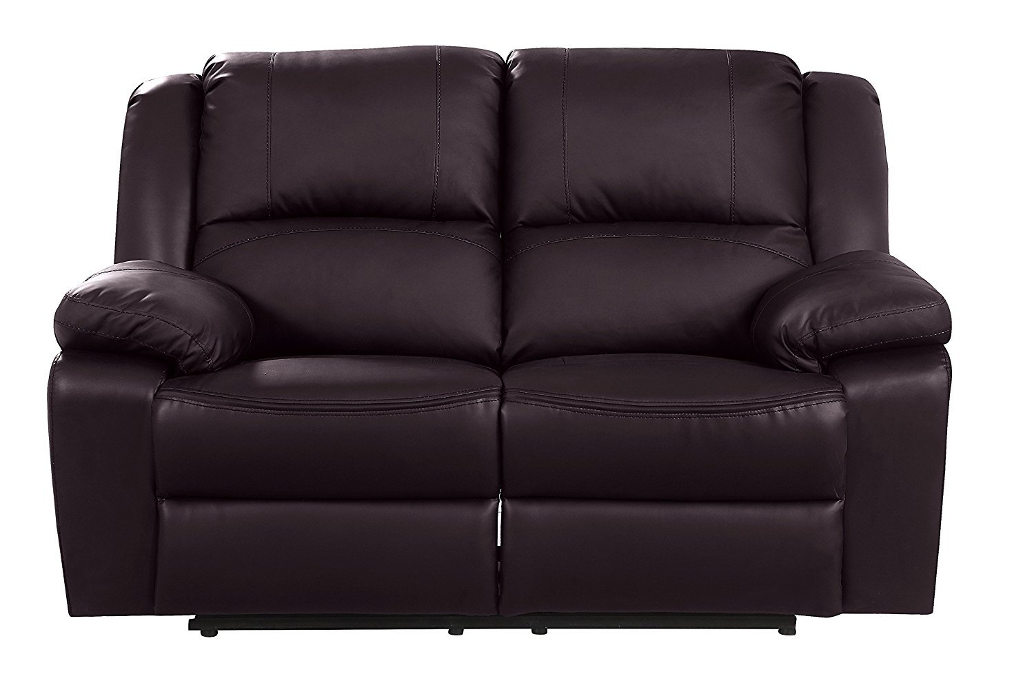 Details About Brown Modern Recliner Sofa 2 Seater Overstuffed Loveseat Living Room