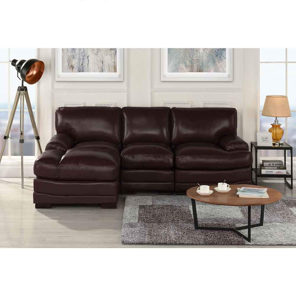 Details about Dark Brown Leather Match Sectional Sofa L-Shape Modern Left  Facing Chaise Lounge