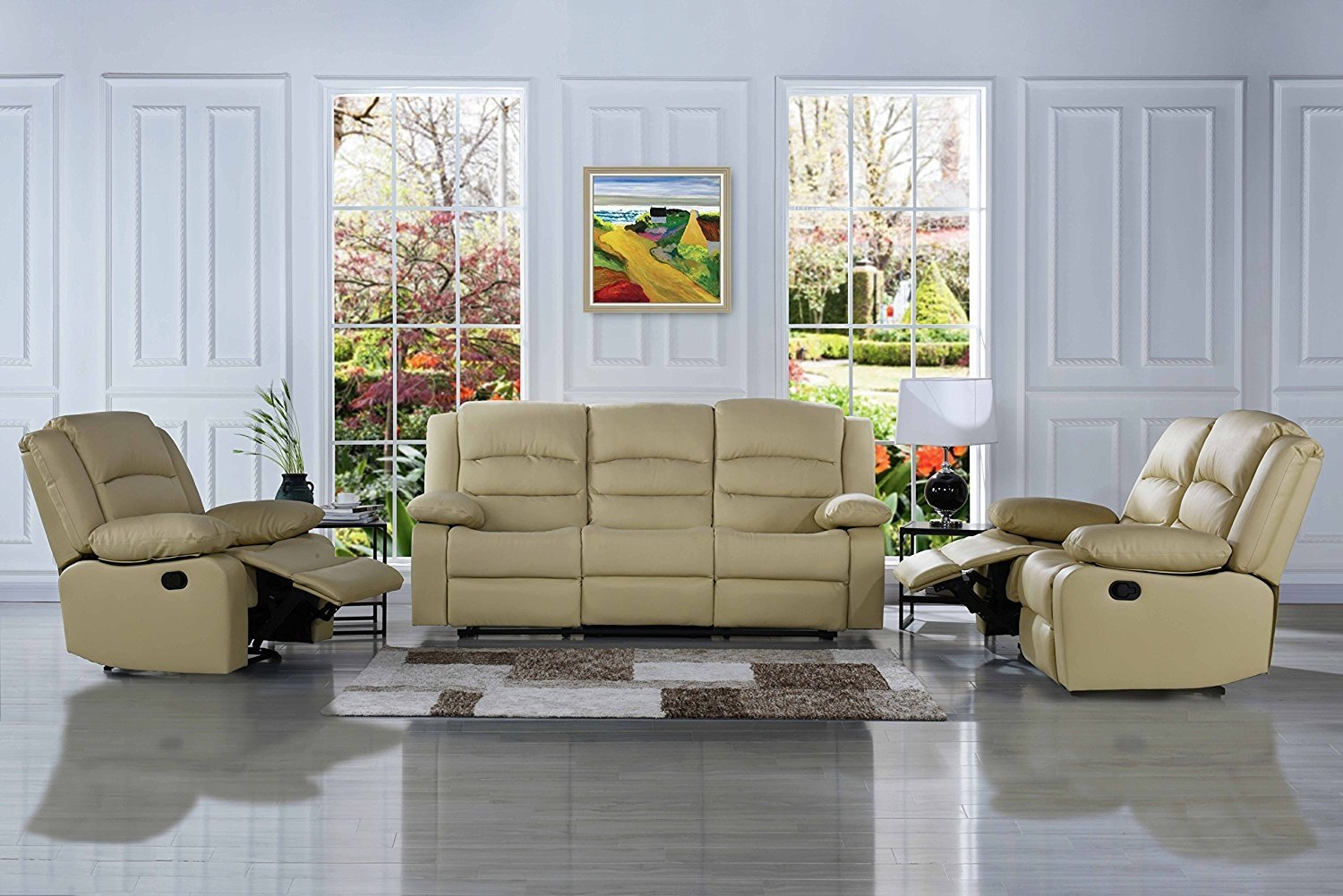 Details About Classic 3 Pc Reclining Sofa Set Real Grain Leather Double Recliner Beige