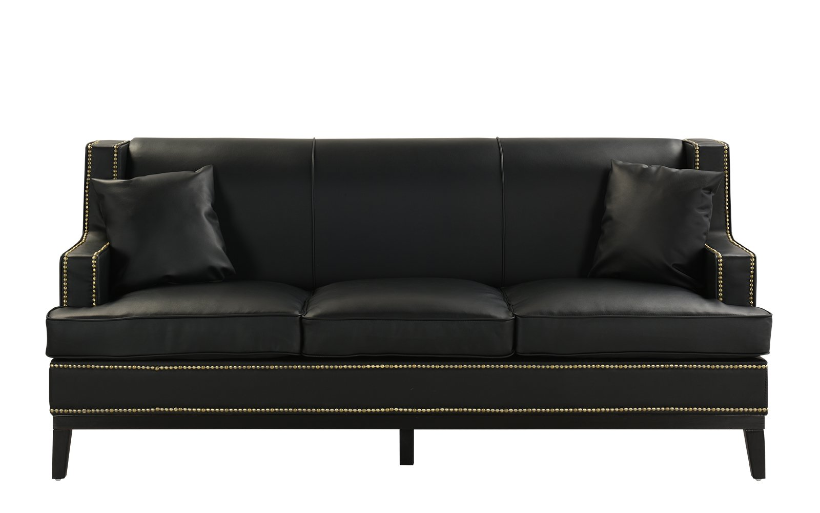 Black Modern Bonded Leather Sofa with Nailhead Trim Detail, 2 Accent Pillows