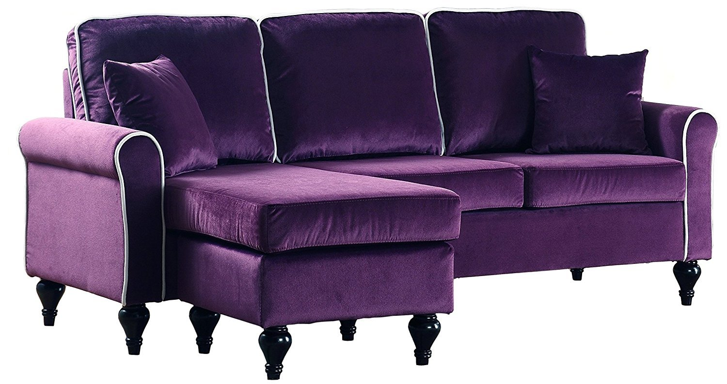 Classic Traditional Small Space Velvet Sectional Sofa Reversible Chaise Purple Ebay