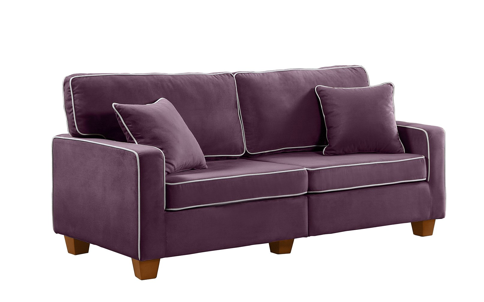 Terrific Details About Modern Two Tone Couch Velvet Fabric Living Room Love Seat Sofa Pillows Purple Caraccident5 Cool Chair Designs And Ideas Caraccident5Info