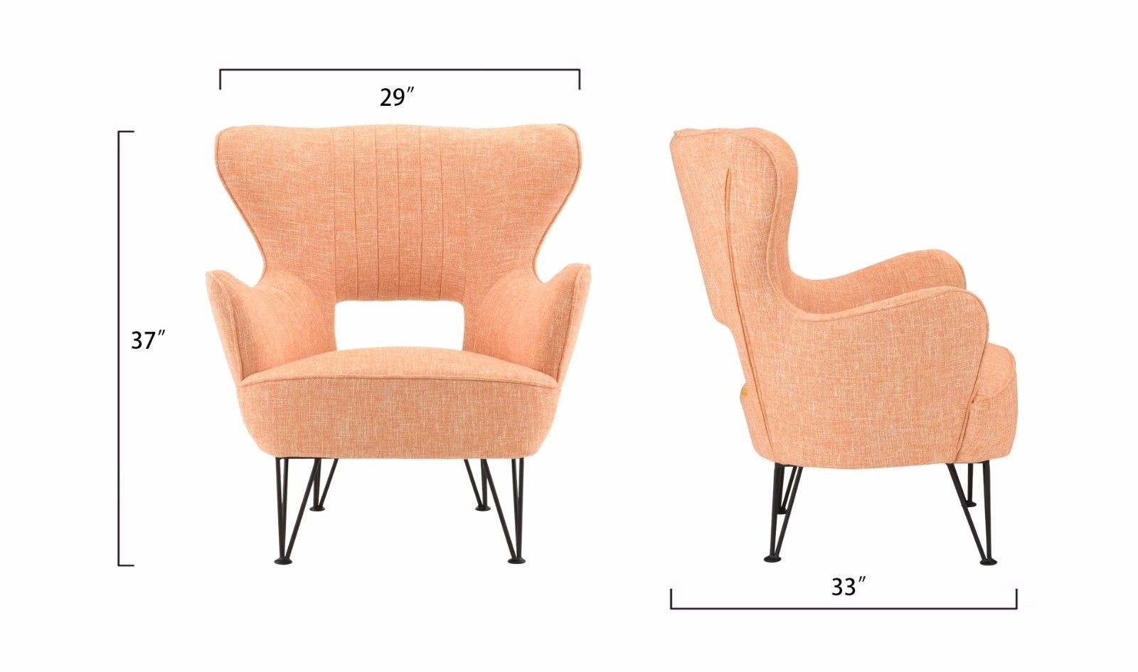 Mid-Century Modern Shelter Style Linen Accent Armchair Living Room ...