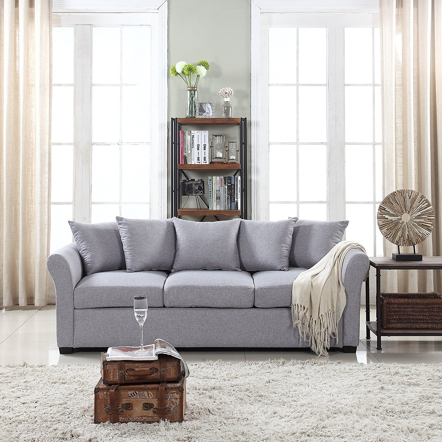 Details about Modern Grey Couch Comfortable Linen Fabric Sofa - Living Room  3 Seater Design