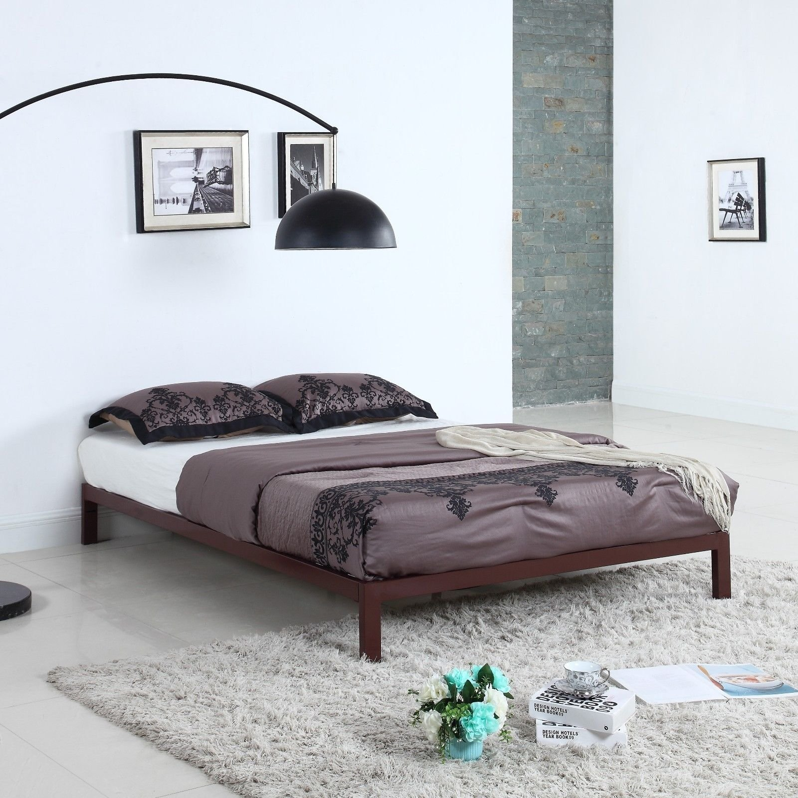 Modern 8 Quot Low Brown Metal Platform Bed Frame Mattress