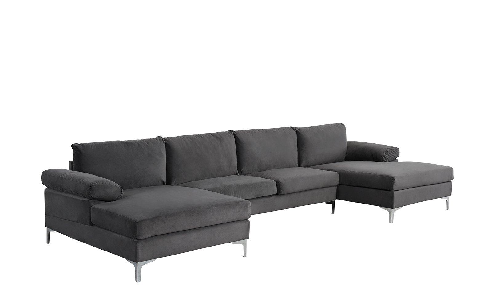Grey Large Velvet Fabric U-Shape Sectional Sofa Double ...