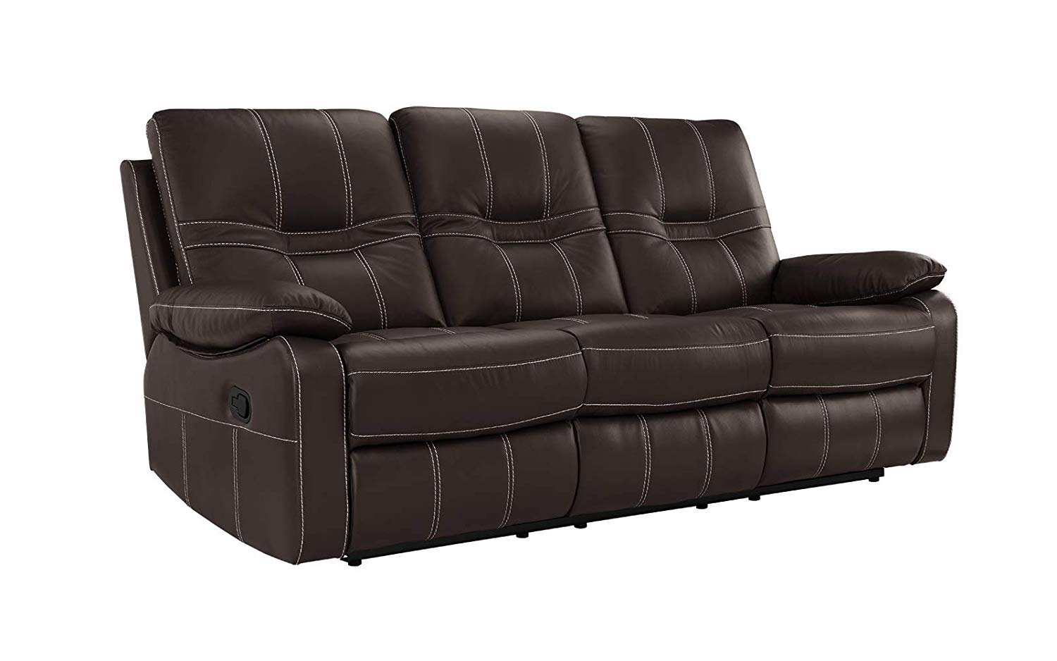 Traditional Upholstered Dark Brown Leather Match Recliner Sofa 3 ...