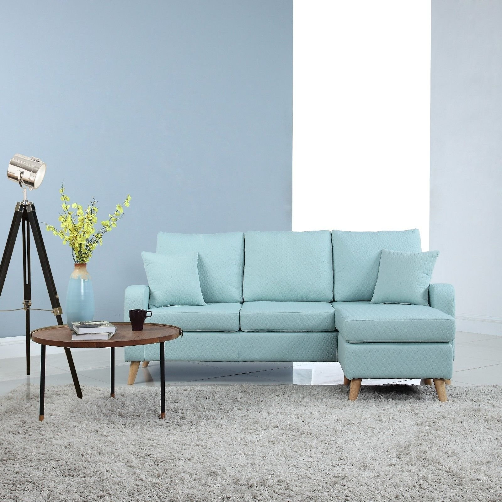 Modern Furniture Small Space Sectional Sofa Reversible