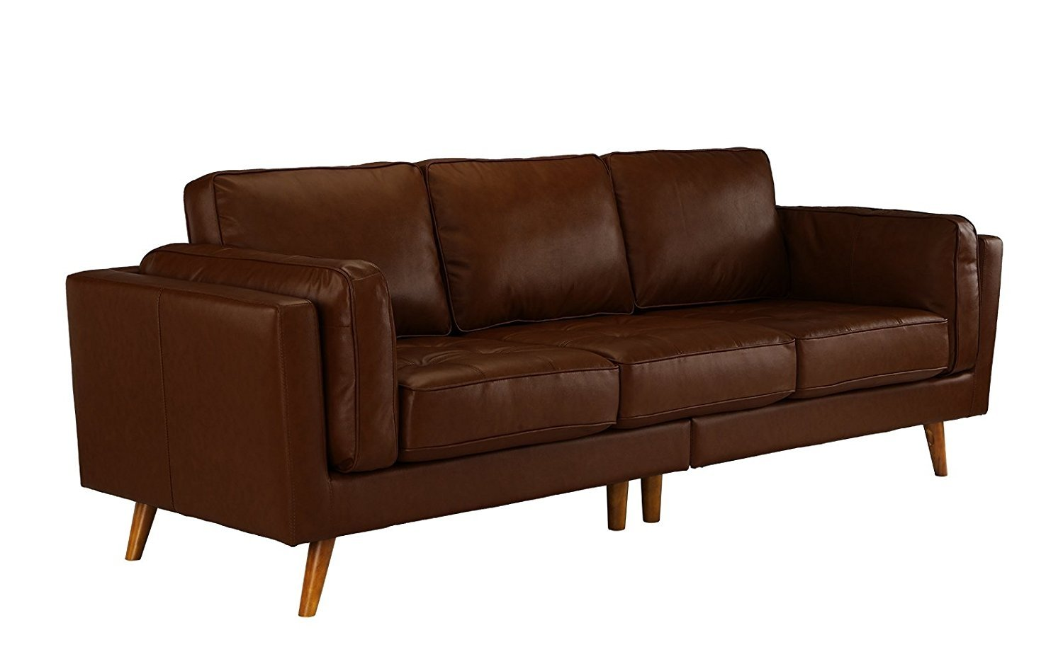 Details About Classic Mid Century Modern Couch Tufted Leather Sofa Wooden Legs Dark Brown
