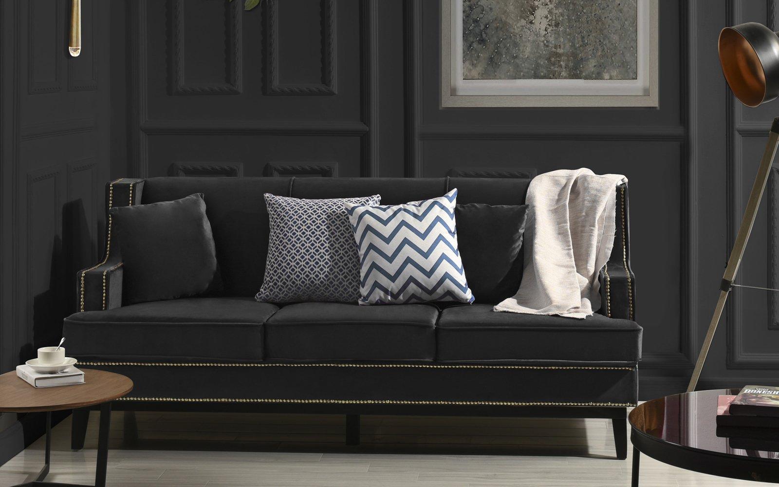 Sensational Black Modern Bonded Leather Sofa With Nailhead Trim Detail Machost Co Dining Chair Design Ideas Machostcouk
