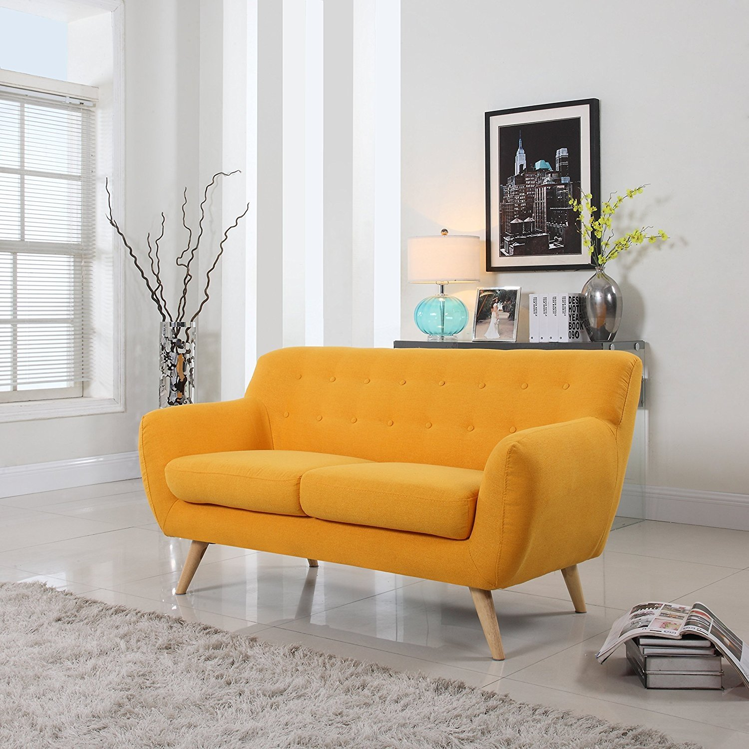 Details about Mid Century Modern Style Sofa / Love Seat Red, Grey, Yellow,  Blue - 2 Seat, 3...