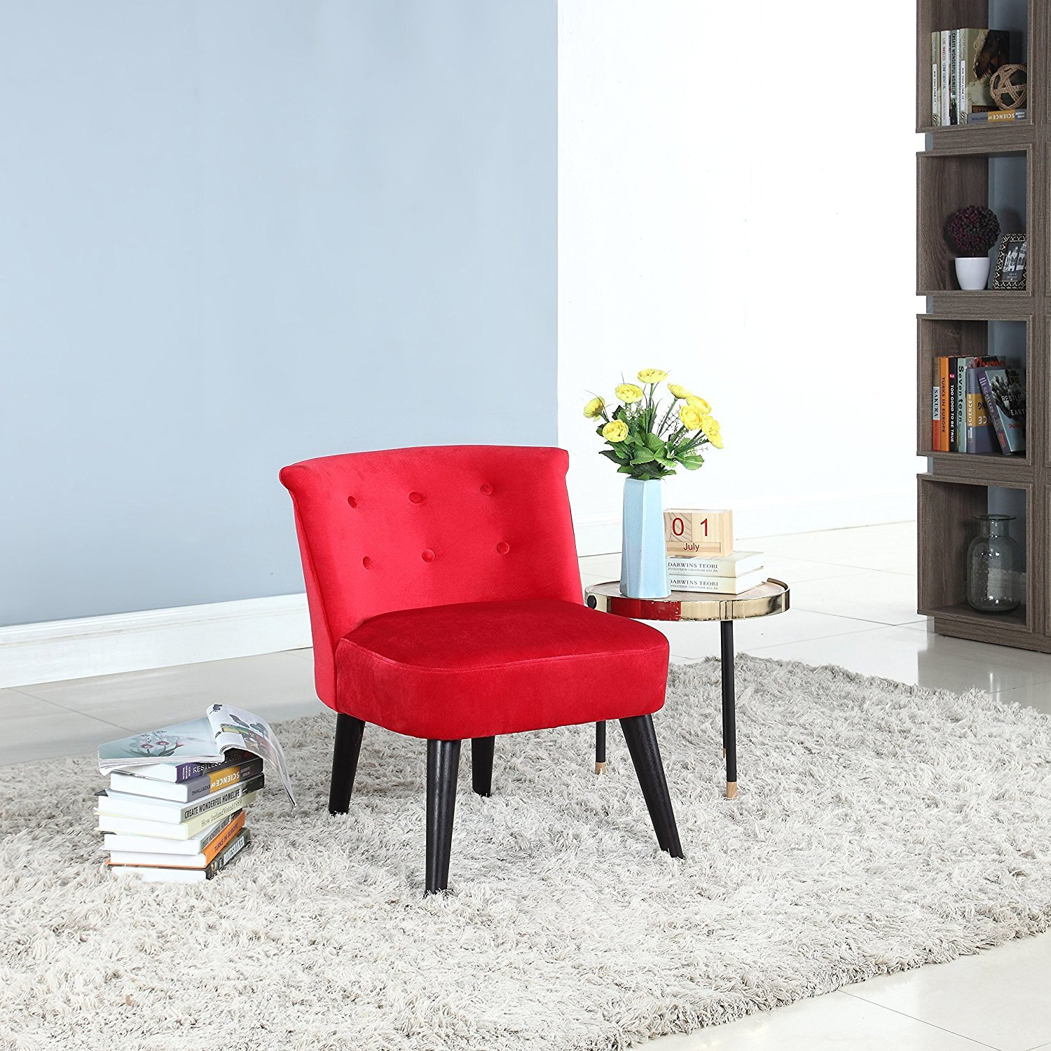 Details About Modern Living Room Chair Armless Velvet Accent Chair Wood Legs Red