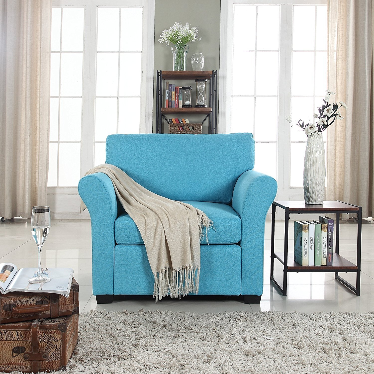 Details About Blue Classic Contemporary Linen Fabric Accent Chair Casual Living Room Armchair
