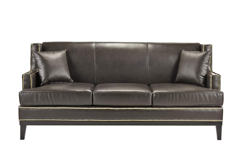 Clic Leather Sofa Nailhead Trim Detail Grey