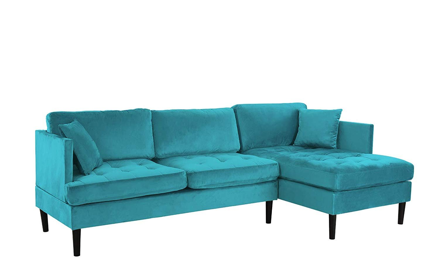 Excellent Details About Mid Century Modern Tufted Velvet Sectional Sofa Classic L Shape Couch Blue Cjindustries Chair Design For Home Cjindustriesco