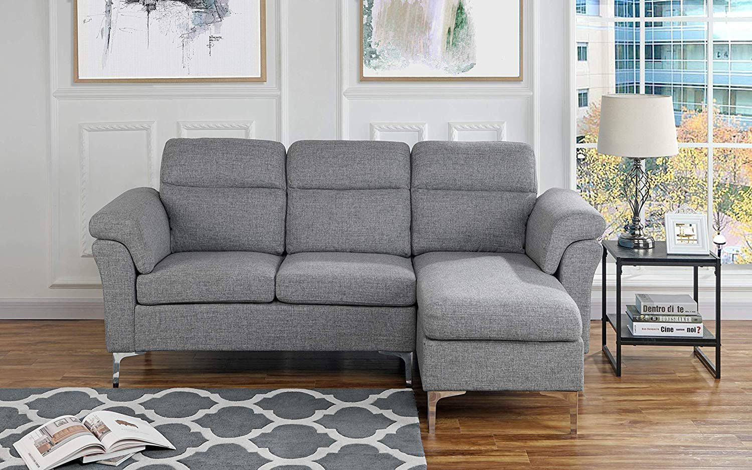 Details about Contemporary Linen Fabric Sectional Sofa, Small Space Couch,  Light Grey