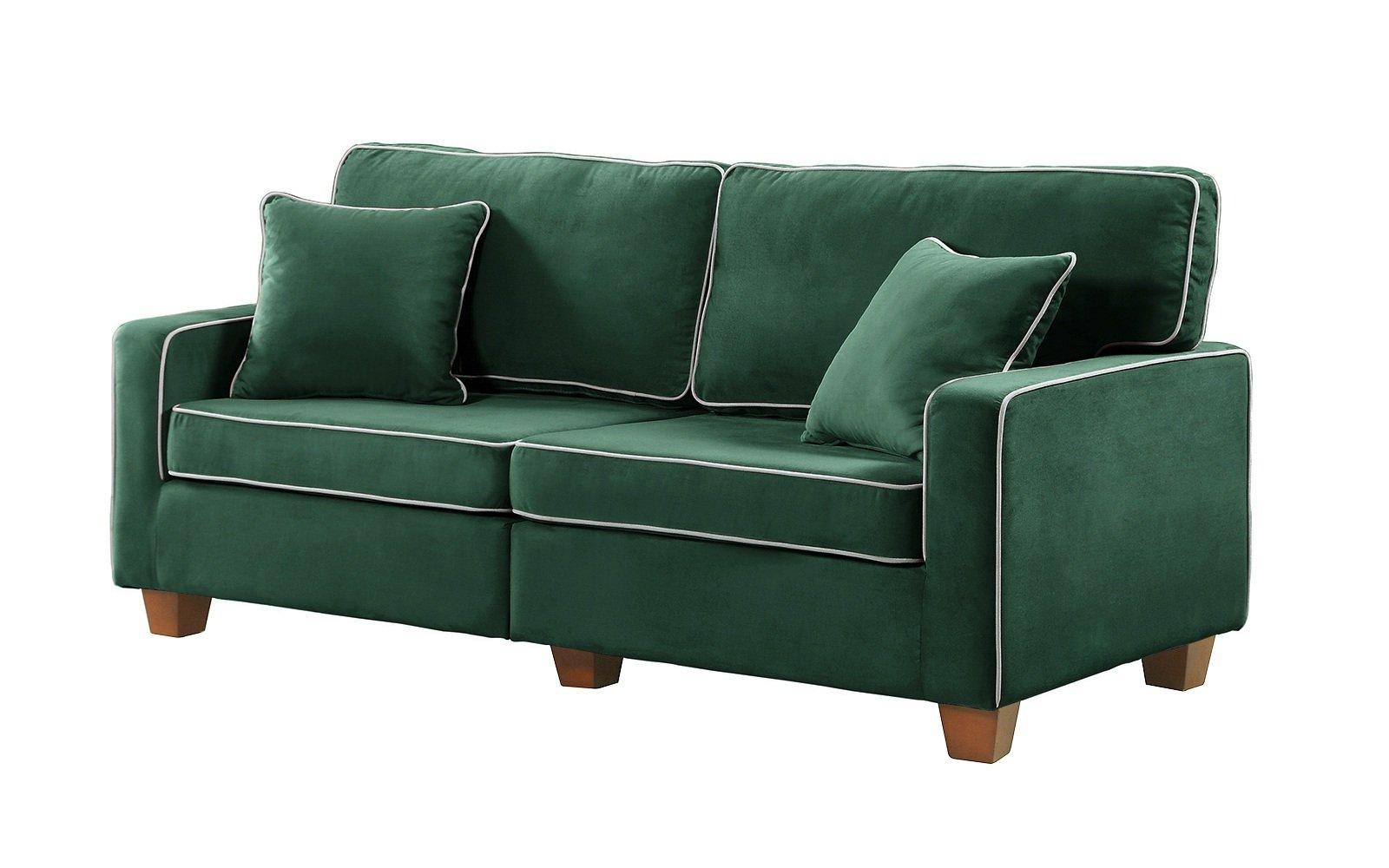 Modern two tone velvet fabric living room love seat sofa green