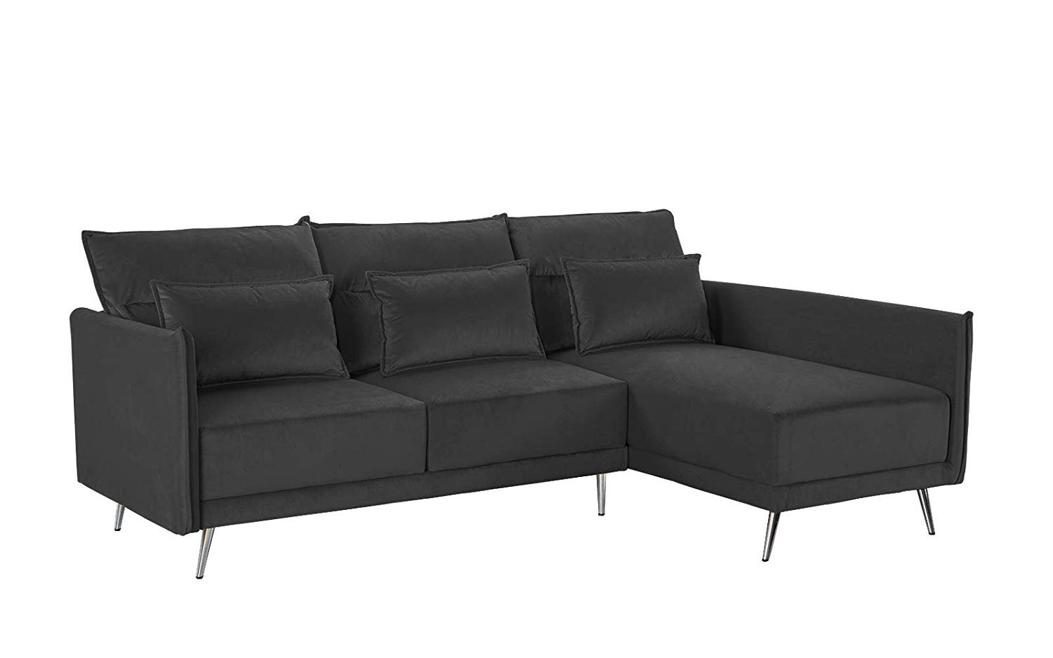 Sensational Details About Mid Century Velvet Small Living Room Sectional Sofa 88 1 Inch Couch Dark Grey Dailytribune Chair Design For Home Dailytribuneorg