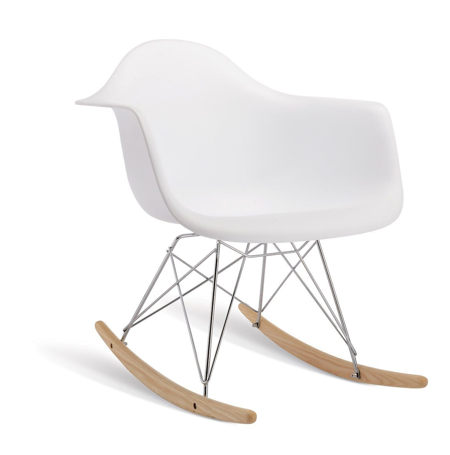 Modern Set Of 2 EAMES Style Rocking Armchair Natural Wood Legs In Color  White, Black And Red (White)