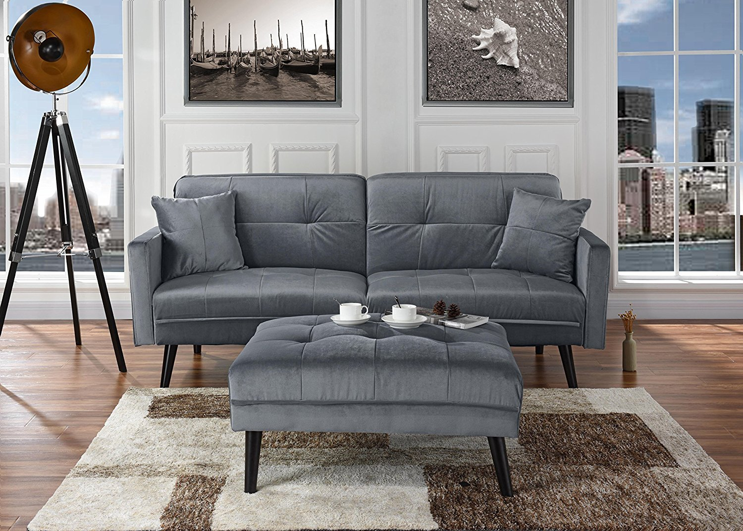 Admirable Details About Light Grey Brush Microfiber Futon Sofa Bed Living Room Sleeper With Ottoman Ibusinesslaw Wood Chair Design Ideas Ibusinesslaworg