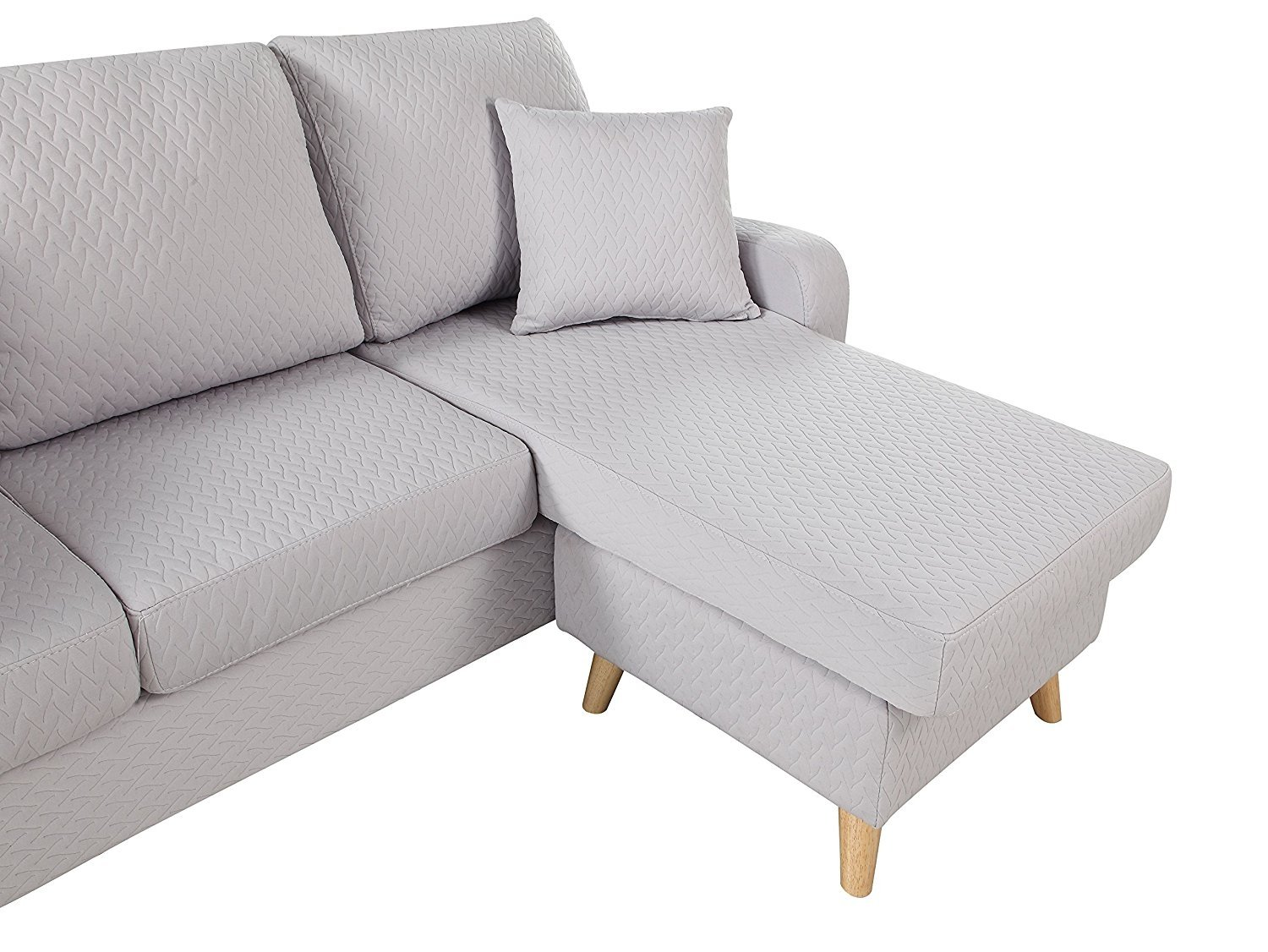 Light grey small space furniture sectional sofa with reversible chaise lounge 647923466102 ebay - Small couch with chaise ...