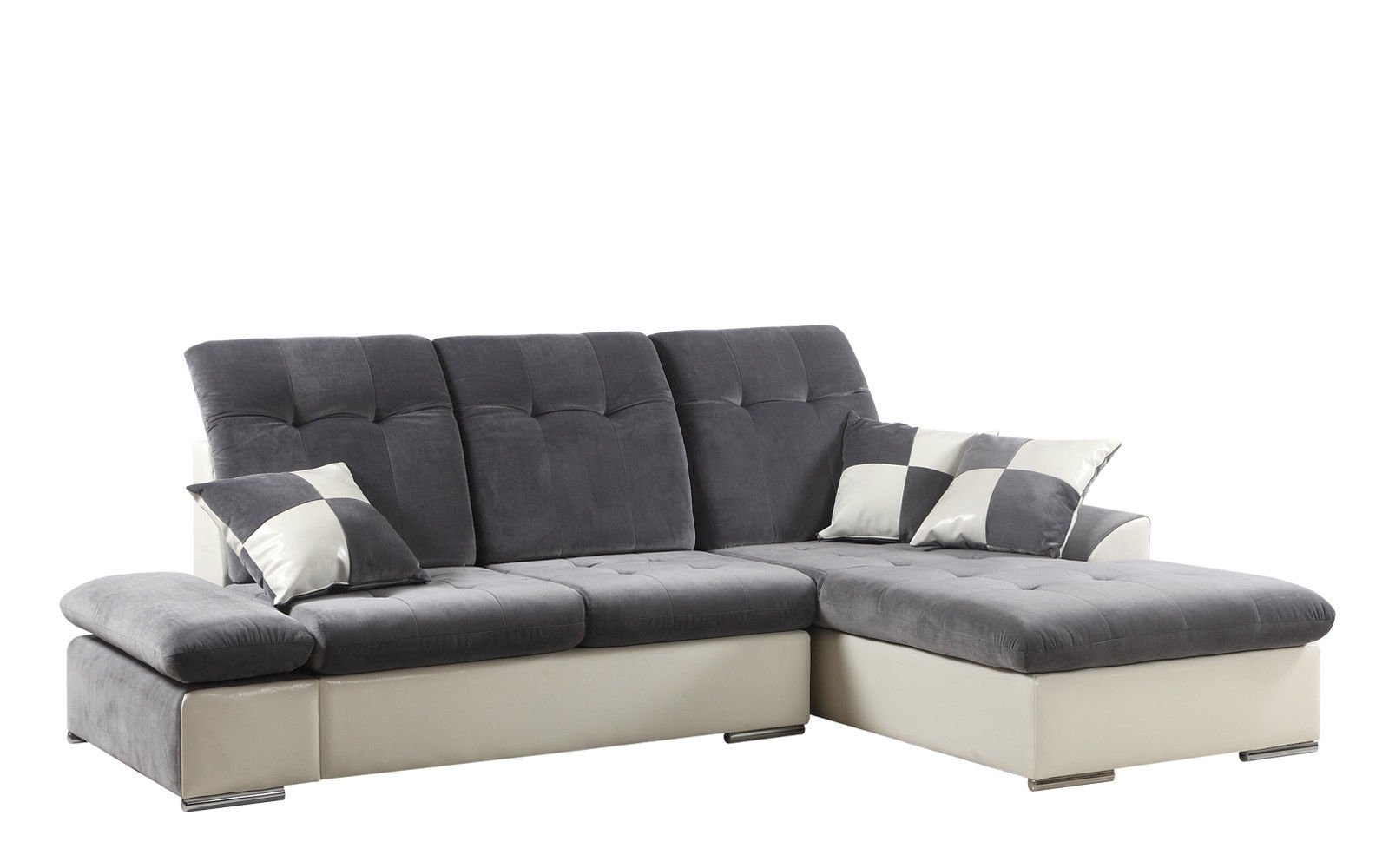 Modern Microfiber Sectional Sofa With Chaise - L Shape Couch (Dark ...
