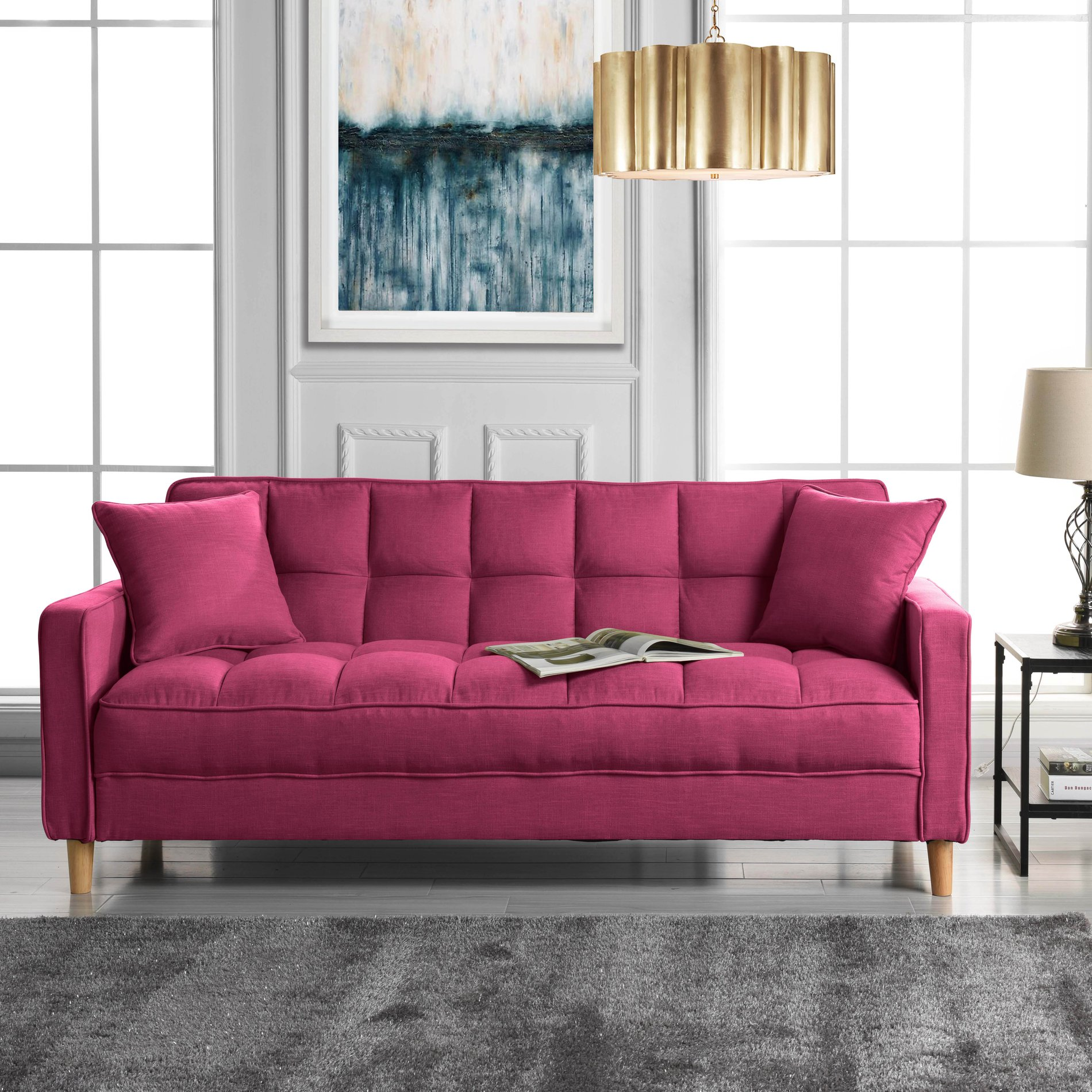Details about modern linen fabric tufted small space living room sofa couch hot pink