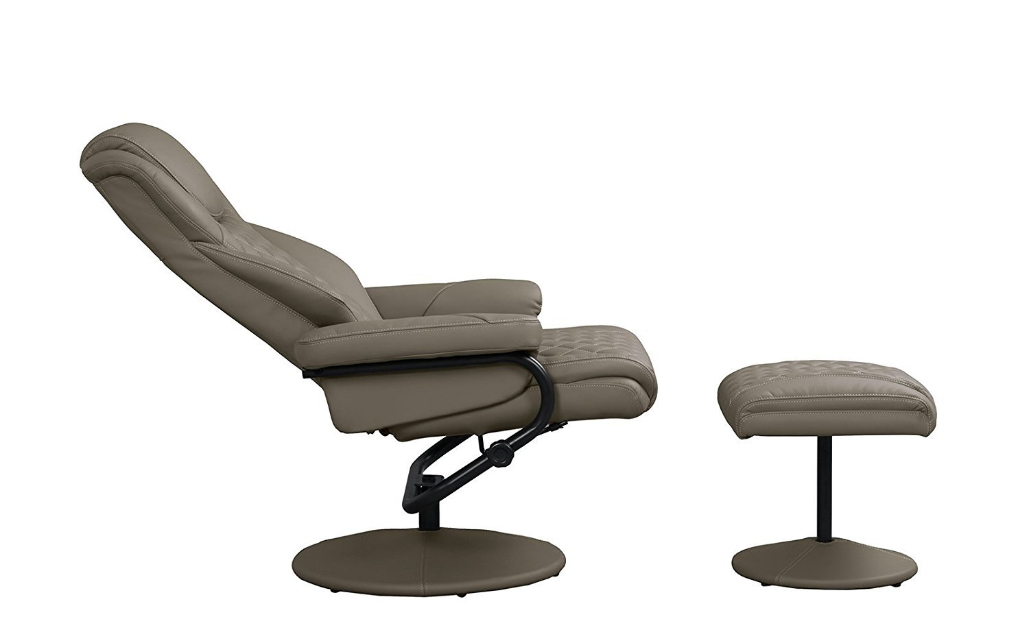 Details About Office Swivel Chair With Footstool Faux Leather Reclining Executive Chair Brown