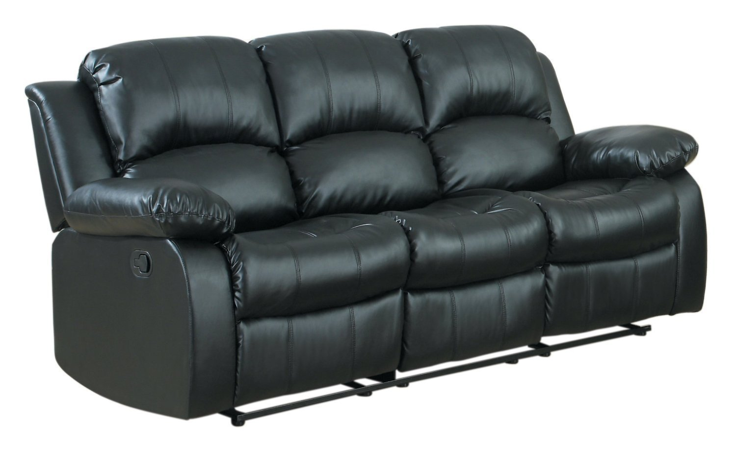 Details About Classic Modern Couch In Bonded Leather Fabric 3 Seater Recliner Sofa Black