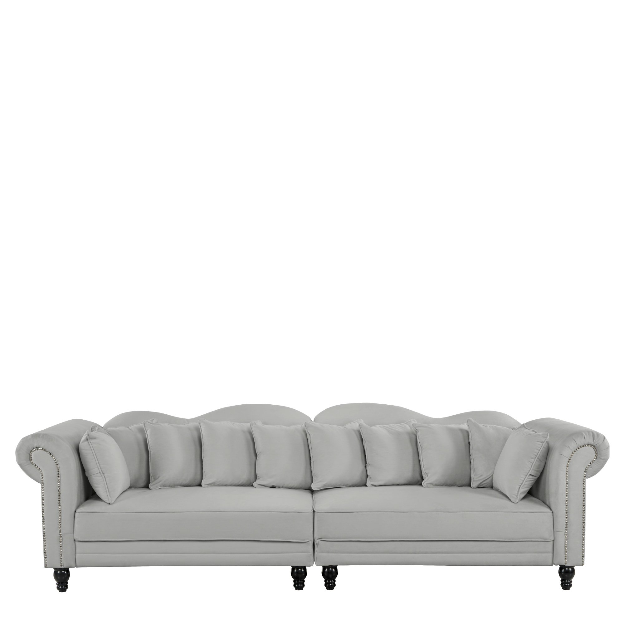 Details about 2 PC Large Chesterfield Sofa, Velvet Couch Scroll Arms  Nailhead Trim, Light Grey