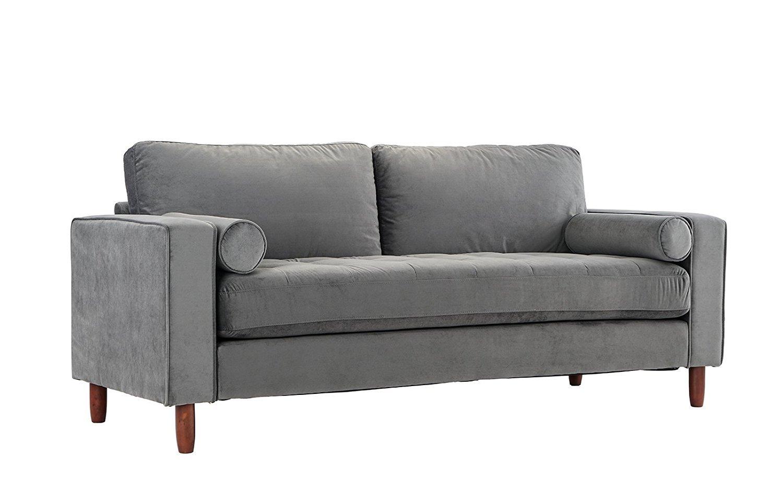 Mid Century Modern Velvet Fabric Sofa, Couch with Bolster ...