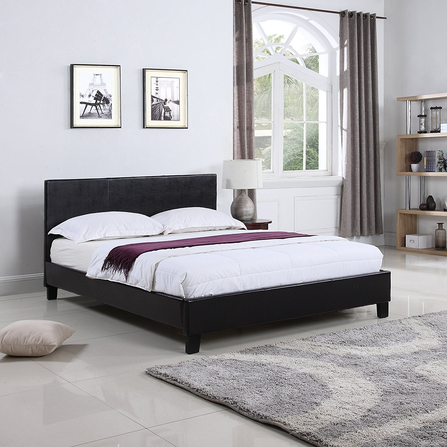 Classic Deluxe Bonded Leather Low Profile Platform Bed Frame with ...