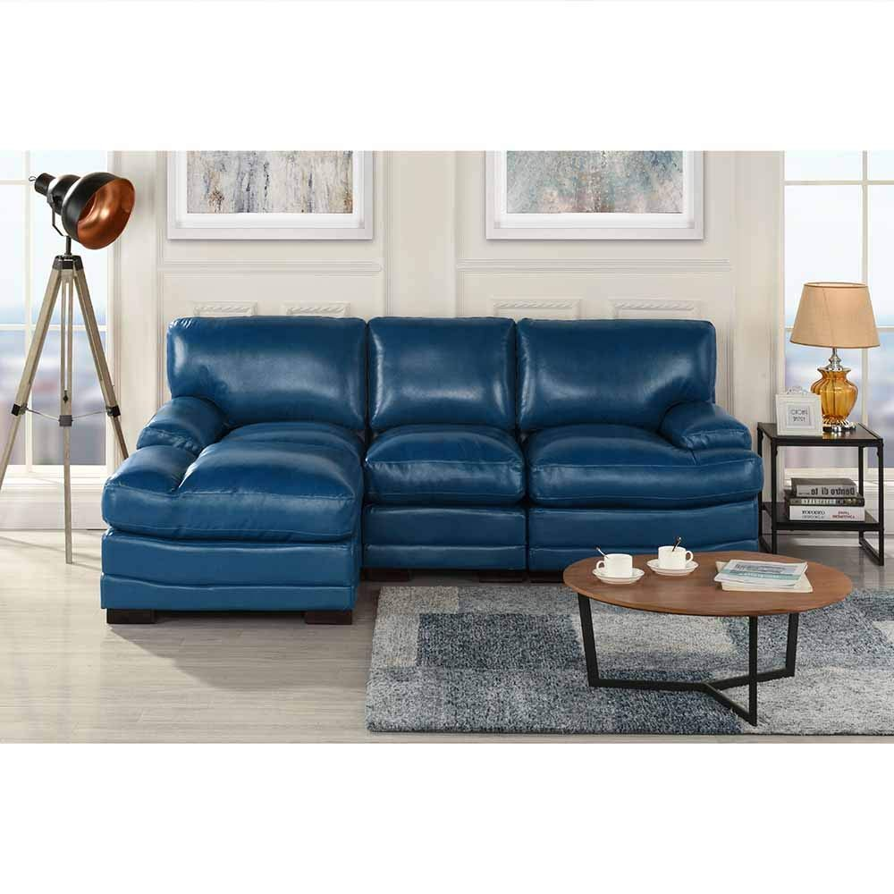 Details about Navy Blue Leather Match Sectional Sofa L-Shape Modern Left  Facing Chaise Lounge