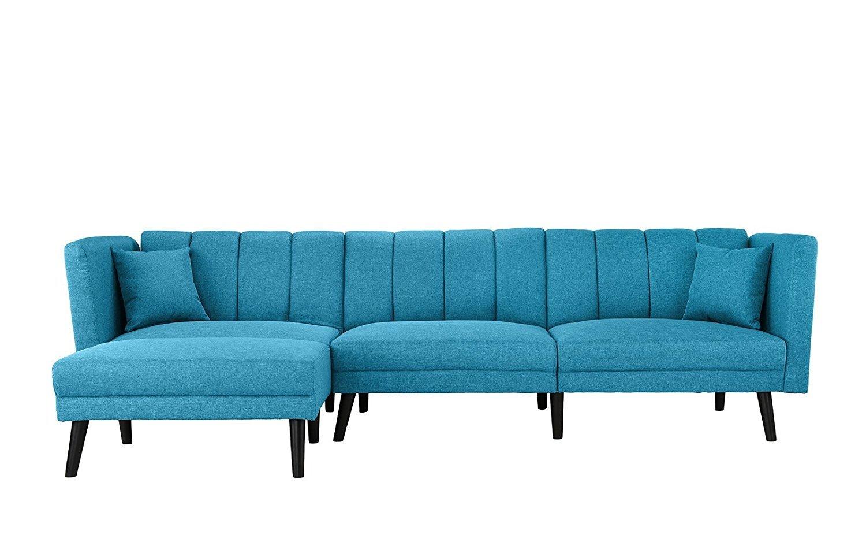 Contemporary Fabric Futon Sectional Sofa L Shape Sleeper