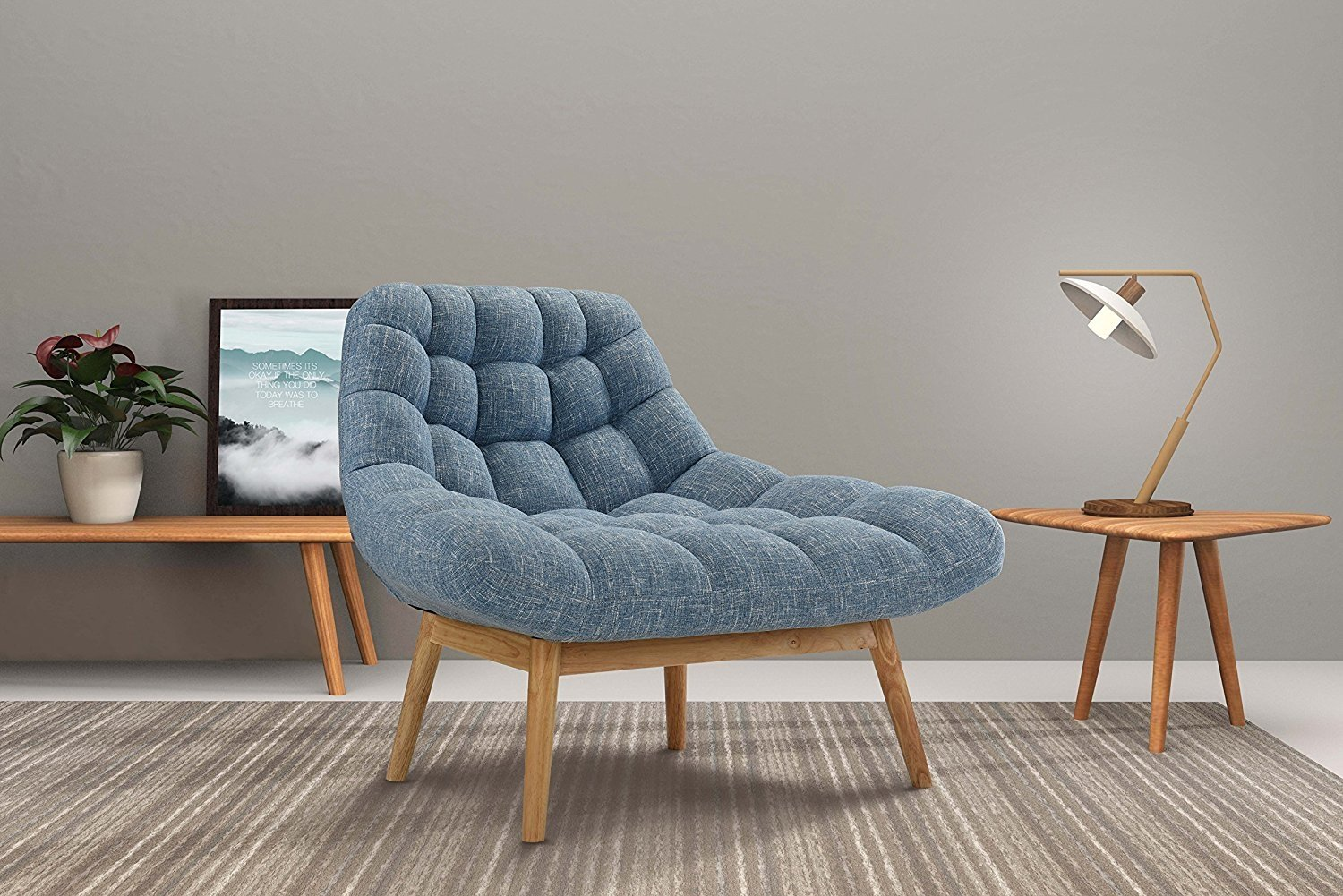 Details About Contemporary Linen Plush Living Room Lounge Accent Chair Wooden Frame Blue