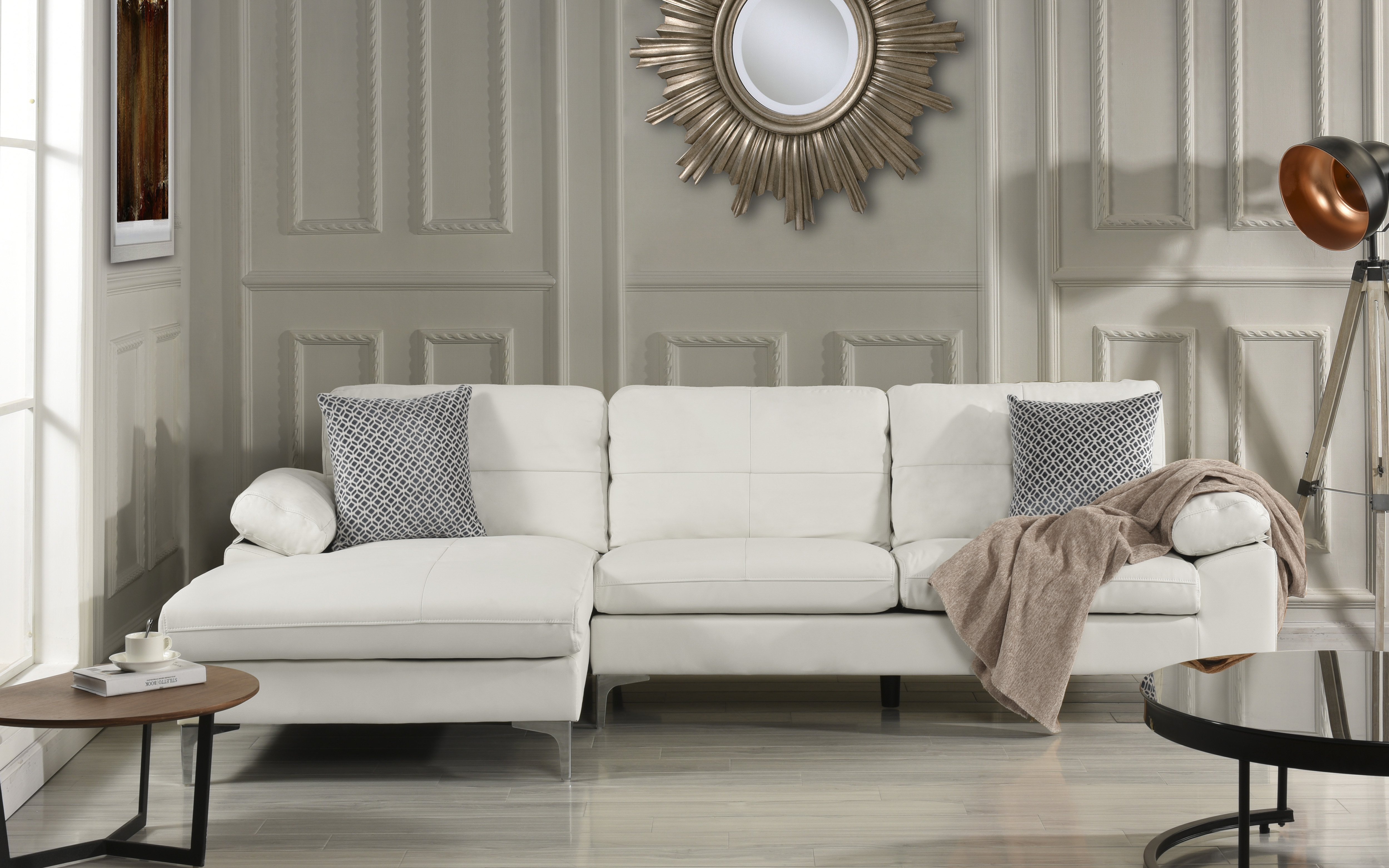 Details about Living Room Family Room Leather Sectional Sofa L-Shape Couch  Left Chaise (White)