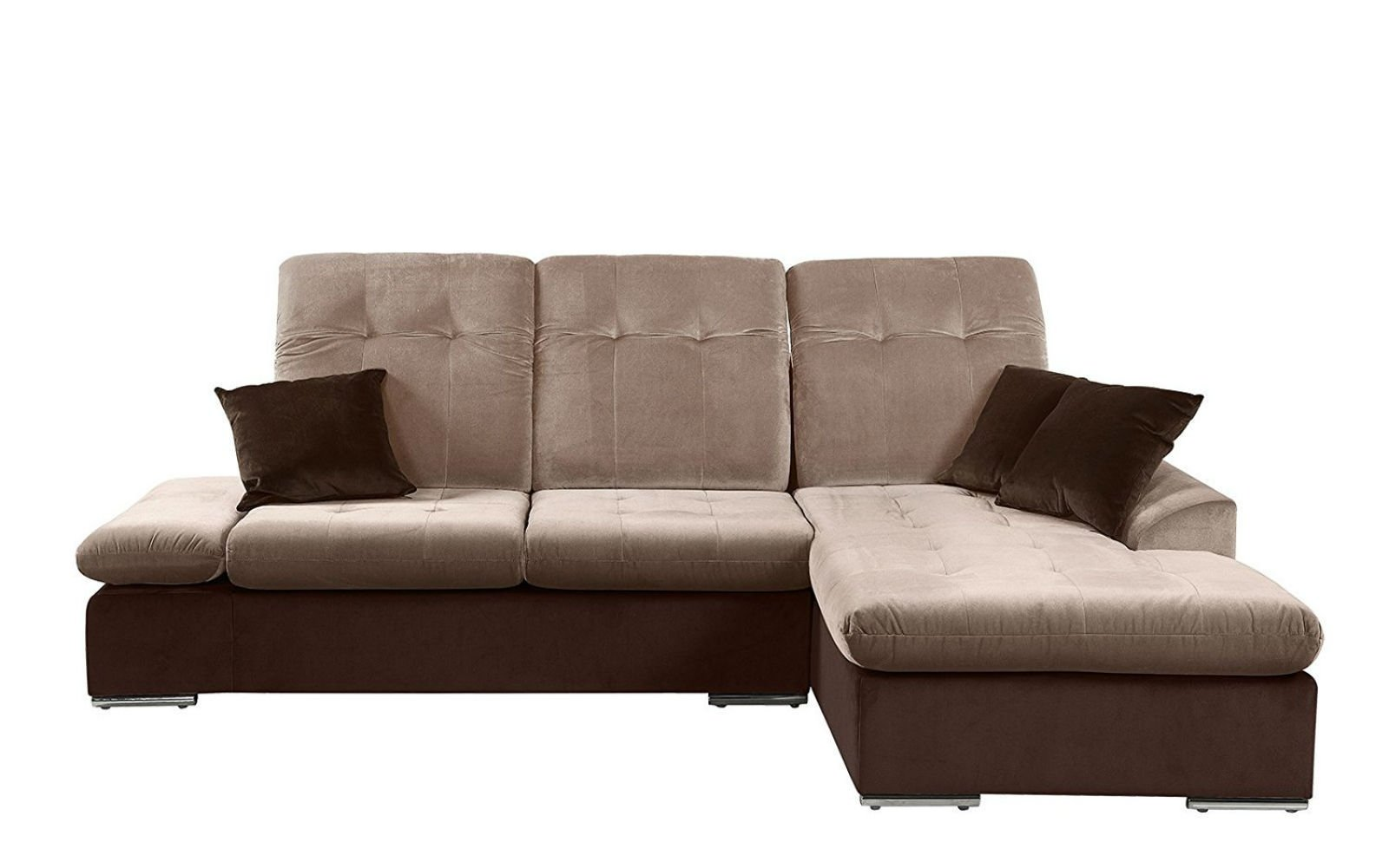 Details about Modern Microfiber Sectional Sofa With Chaise - L Shape Couch  (Brown / Hazelnut)