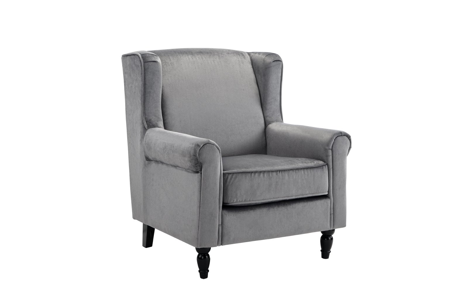 Grey Modern Velvet Fabric Upholstered Arm Chair Accent ...