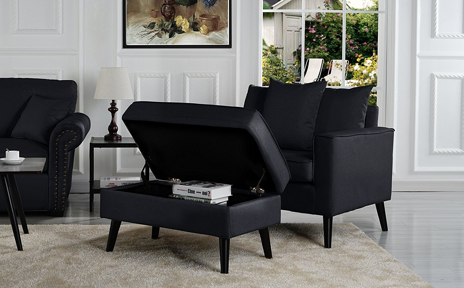 Details About Mid Century Modern Living Room Accent Chair W Footrest Storage Black
